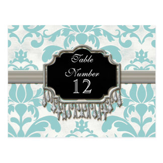 Aged Distressed Damask Silver Bling Look Wedding Post Card