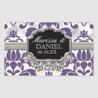 Aged Distressed Damask Silver Bling Look Wedding Rectangular Sticker
