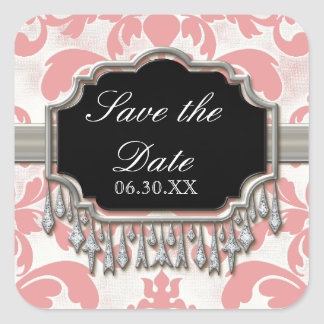 Aged Distressed Damask Silver Bling Look Wedding Square Sticker