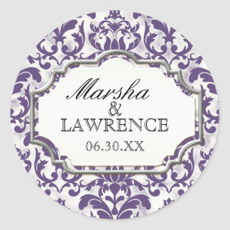 Aged Distressed Damask Silver Bling Look Wedding Round Sticker