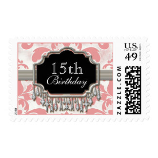 Aged Distressed Damask Silver Look Quinceanera Postage