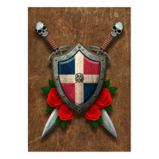 Aged Dominican Republic Flag Shield and Swords Large Business Card