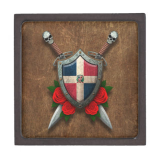 Aged Dominican Republic Flag Shield and Swords Premium Keepsake Boxes