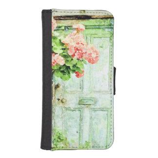 Aged Door with Geraniums iPhone SE/5/5s Wallet