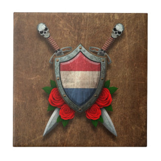 Aged Dutch Flag Shield and Swords with Roses Ceramic Tile