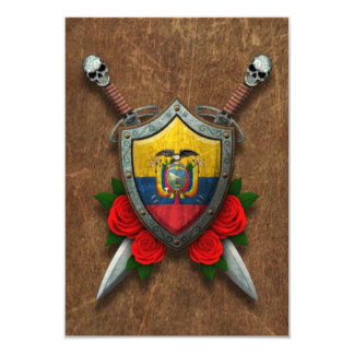 Aged Ecuadorian Flag Shield and Swords with Roses 3.5x5 Paper Invitation Card