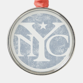 Aged Faded NYC Metal Ornament