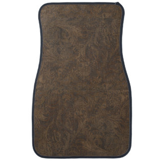 Aged Faux Tooled Leather Western-style Design 2 Floor Mat