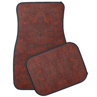Aged Faux Tooled Leather Western-style Design 3 Car Mat