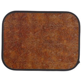 Aged Faux Tooled Leather Western-style Design Car Mat