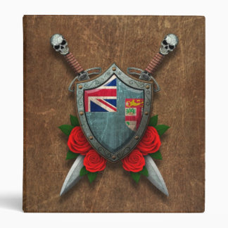 Aged Fiji Flag Shield and Swords with Roses 3 Ring Binders