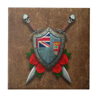 Aged Fiji Flag Shield and Swords with Roses Ceramic Tile