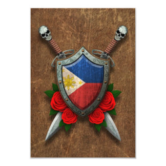 Aged Filipino Flag Shield and Swords with Roses Card