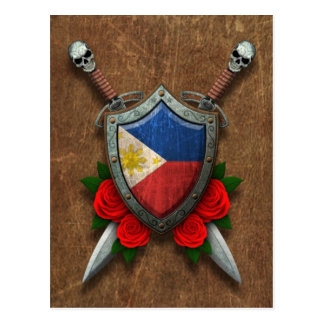 Aged Filipino Flag Shield and Swords with Roses Postcard