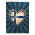 Aged Finnish Flag Heart with Light Rays Greeting Card