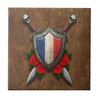 Aged French Flag Shield and Swords with Roses Tiles