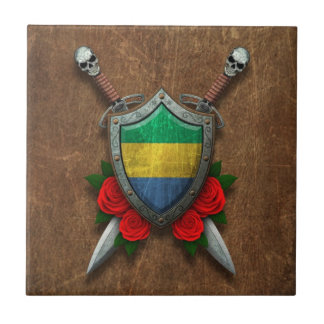 Aged Gabon Flag Shield and Swords with Roses Tile
