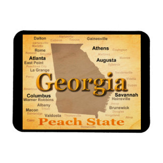 Aged Georgia State Pride Map Silhouette Magnet