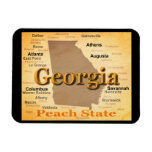 Aged Georgia State Pride Map Silhouette Vinyl Magnet