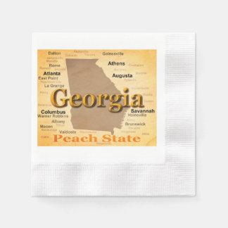 Aged Georgia State Pride Map Silhouette Disposable Napkin