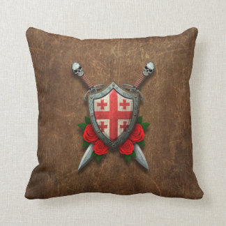 Aged Georgian Flag Shield and Swords with Roses Pillows
