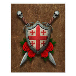 Aged Georgian Flag Shield and Swords with Roses Posters