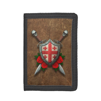 Aged Georgian Flag Shield and Swords with Roses Trifold Wallets