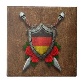 Aged German Flag Shield and Swords with Roses Tiles
