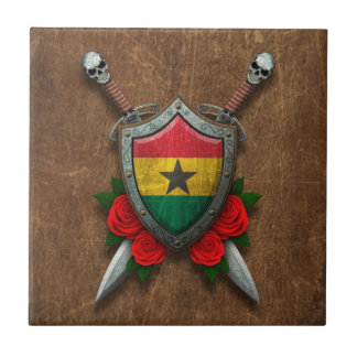 Aged Ghana Flag Shield and Swords with Roses Tiles