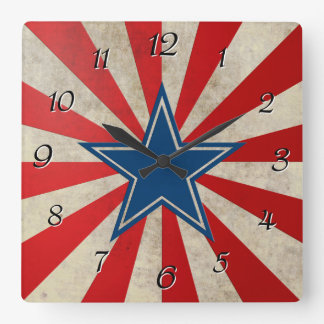 Aged Glory - Red, White and Blue Square Wallclock