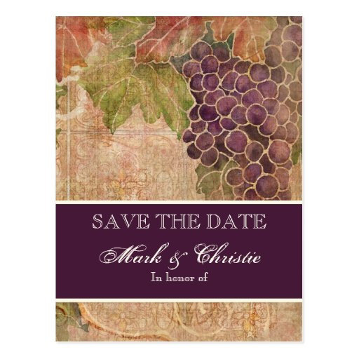 Aged Grape Vineyard Save the Date Post Card