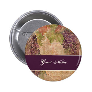 Aged Grape Vineyard Save the Date Postage Pinback Button