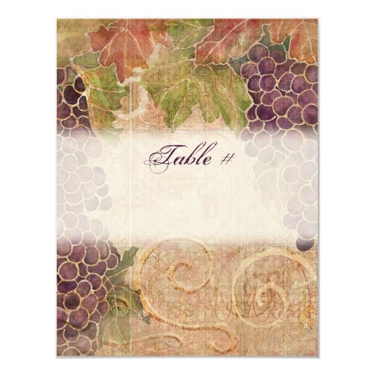 Aged Grape Vineyard Table Number Card