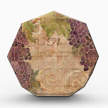 """Aged Grape Vineyard Watercolor Home Decor Acrylic Award<br><div class=""""desc"""">Matching Old World Style Home Decor Products to coordinate with the &quot;Aged Grape Vineyard&quot; Wedding invitation set or collection has invitations of all sizes and shapes this one is square and two-sided. Perfect for summer or fall weddings and those being held in unique places such as at a winery or...</div>"""