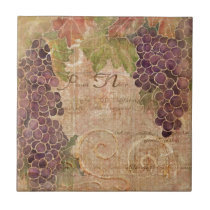 Aged Grape Vineyard Watercolor Home Decor Ceramic Tile