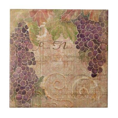 Aged Grape Vineyard Watercolor Home Decor Ceramic Tile