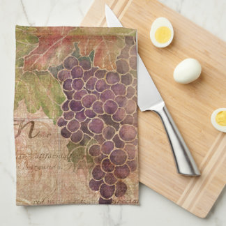 Aged Grape Vineyard Watercolor Home Decor Kitchen Towel