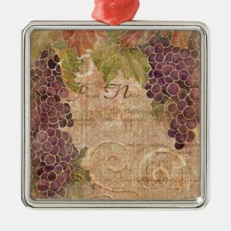 Aged Grape Vineyard Watercolor Home Decor Metal Ornament