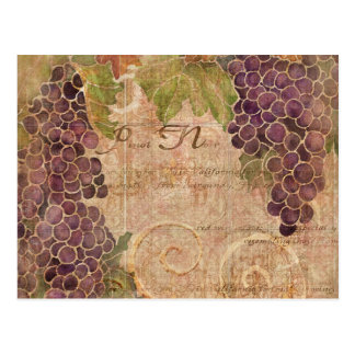 Aged Grape Vineyard Watercolor Home Decor Postcard