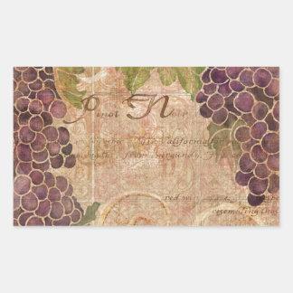 Aged Grape Vineyard Watercolor Home Decor Rectangular Sticker