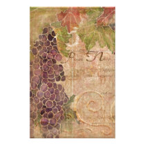 Aged Grape Vineyard Watercolor Home Decor Stationery