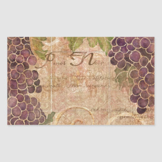 Aged Grape Vineyard Watercolor Home Decor Rectangular Sticker