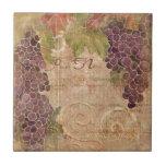 Aged Grape Vineyard Watercolor Home Decor Ceramic Tiles