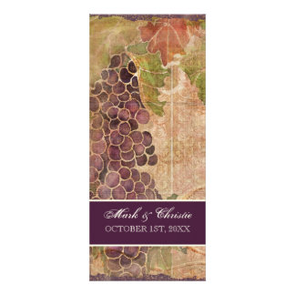 Aged Grape Vineyard Wedding Dinner Menu Personalized Announcement