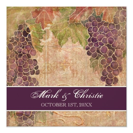Aged Grape Vineyard Wedding Invitation