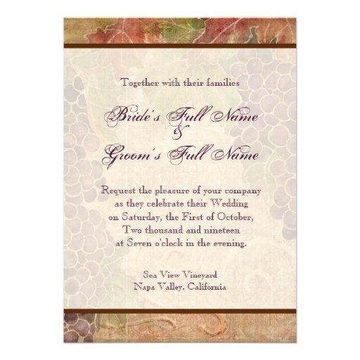 Aged Grape Vineyard Wedding Invitation