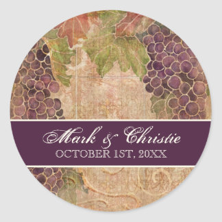 Aged Grape Vineyard Wedding Invitation Classic Round Sticker
