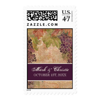 Aged Grape Vineyard Wedding Invitation Postage
