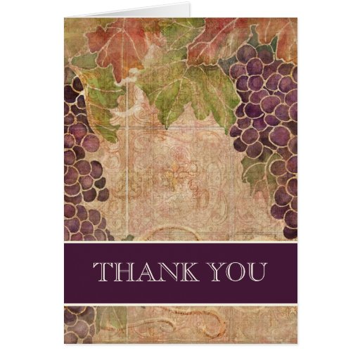 Aged Grape Vineyard Wedding Thank You Notes Stationery Note Card