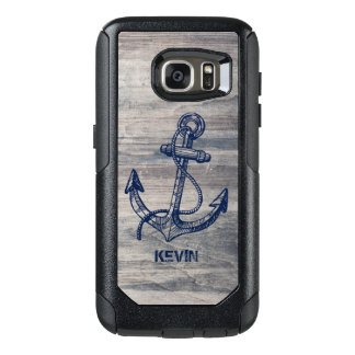 Aged Gray Wood Texture Midnight Blue Boat Anchor OtterBox Samsung Galaxy S7 Case